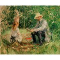 Эжен Мане с дочерью в саду - Моризо, Берта