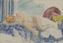 Молодая женщина на голубой софе, 1920 - Лебаск, Анри