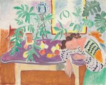 Натюрморт и спящая за столом женщина - Матисс, Анри