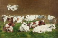 Коровы (набросок) - Буден, Эжен