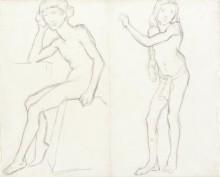 Стоящая и сидящая обнаженная фигура (по мотивам Барга) (Standing and Sitting Male Nude (after Bargue)), 1890 - Гог, Винсент ван