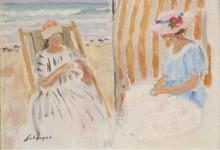 Две молодые женщины на пляже в Сен-Жан-де-Мон - Лебаск, Анри