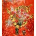 Цветы на красном фоне - Шагал, Марк Захарович