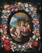 Мадонна с Младенцем и ангелами в цветочной гирлянде - Брейгель, Ян (младший)