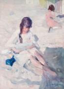 Женщина с ребенком на пляже - Вейджманс, Морис