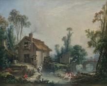 Пейзаж с водяной мельницей - Буше, Франсуа