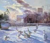Зимний пейзаж с гусями
