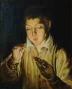 Мальчик, зажигающий свечу - Греко, Эль