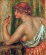 Женщина с птичкой - Ренуар, Пьер Огюст