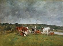 Пейзаж с коровами на лугу - Буден, Эжен