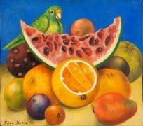 Натюрморт с попугаем и фруктами - Кало, Фрида