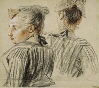 Этюд женщины в чепце - Ватто, Жан Антуан