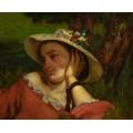 Женщина в шляпке с цветами - Курбе, Гюстав