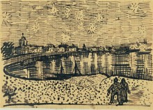 Звездная ночь над Роной. Эскиз (Starry Night over the Rhone (sketch)), 1888 - Гог, Винсент ван