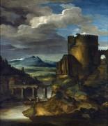 Итальянский пейзаж с гробницей - Жерико, Теодор Жан Луи Андре