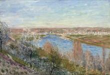 Деревня в Шампани на закате дня, апрель - Сислей, Альфред