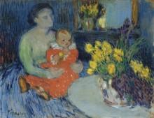 Мать с ребенком и цветы - Пикассо, Пабло