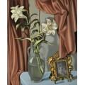 Натюрморт с лилиями и фотографией - Лемпицка, Тамара