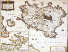 Карта острова Искья, Эльбы в Неаполитанском заливе