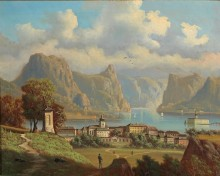 Вид на Гмунден с замком Орт на озере Траунзе - Янковский, Вильгельм