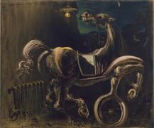Обломки автомобиля, дающего рождение слепой лошади, кусающей телефон - Дали, Сальвадор