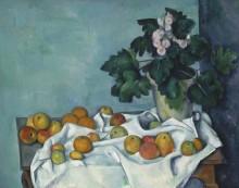 Натюрморт с яблоками и вазоном с примулой - Сезанн, Поль