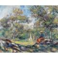 Девушка на фоне пейзажа - Ренуар, Пьер Огюст