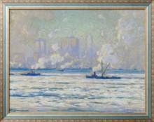 Зимний вид на Нью-Йорк из реки Гудзон, 1918 - Кларк, Элиот Кенди