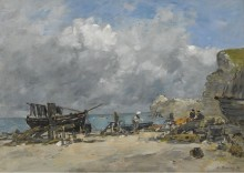 Этрета, рыбацкие лодки и рыбаки на пляже, 1890 - Буден, Эжен