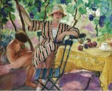 Сад летом (Пьер и Ноно под виноградом), 1920 - Лебаск, Анри
