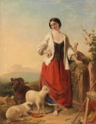 Пастушка на фоне пейзажа - Маршалл, Томас