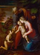 Святое Семейство с маленьким Иоанном Крестителем в пейзаже - Рафаэль, Санти
