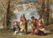 Пятеро цыганских детей на фоне пейзажа - Диас де ла Пенья, Нарсис