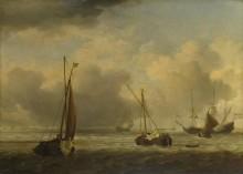 Голландские суда  и лодки во время бриза - Велде, Виллем ван де (Младший)