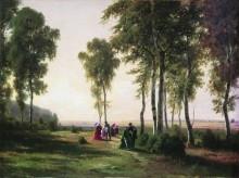 Пейзаж с гуляющими, 1869 - Шишкин, Иван Иванович