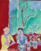 Две девочки на красно-зеленом фоне - Матисс, Анри