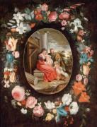 Святое семейство с маленьким Иоанном Крестителем в цвточной гирлянде - Брейгель, Ян (младший)