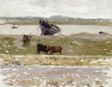 Коровы у старой лодки, Этапль, 1887 - Сиданэ, Анри Эжен Огюстен Ле