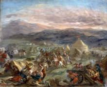 Гибель Маркоса Боцариса при атаке на турецкий лагерь - Делакруа, Эжен