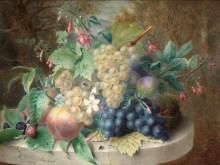 Натюрморт с виноградом, персиками и ежевикой - Лальман, Адель