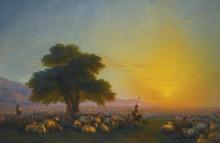 Пастухи с отарой овец на закате дня - Айвазовский, Иван Константинович