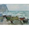 Рыбацкие лодки на берегу в Этрета - Моне, Клод