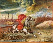 Бегущий конь с красной попоной на берегу Босфора - Кирико, Джорджо де