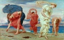 Греческие девушки, собирающие ракушки на берегу моря - Лейтон, Фредерик