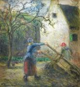 Женщина выгружает корзину - Писсарро, Камиль
