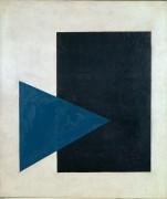 Супрематическая композиция (с синим треугольником и черным прямоугольником) - Малевич, Казимир