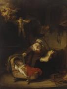 Святое семейство и ангелы - Рембрандт, Харменс ван Рейн