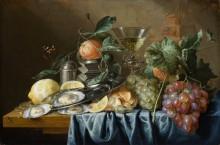 Натюрморт с устрицами и виноградом - Хем, Ян Давидс де