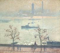 Вид на Темзу с набережной, 1919 - Клаус, Эмиль