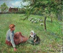 Пастушка гусей с ребенком - Писсарро, Камиль